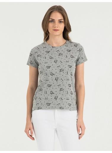 Loft Desenli T-Shirt Gri